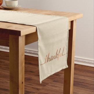 Copper-look Thanksgiving Thankful script design Short Table Runner
