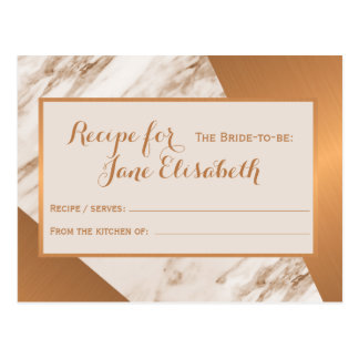 Copper marble chic glam bride to be recipe card