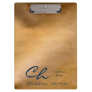 Copper Metallic Clipboard With Navy Blue Text