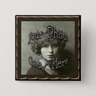 Copper Metallic Frame Template 2 Inch Square Button