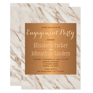 Copper metallic marble trendy engagement party card