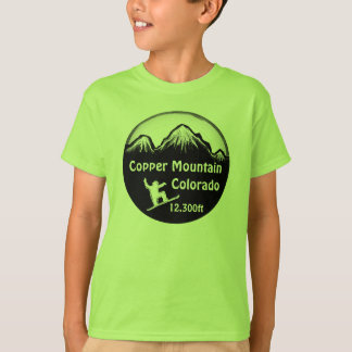 Copper Mountain Colorado green boys snowboard tee