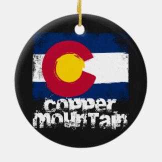 Copper Mountain Grunge Flag Ceramic Ornament