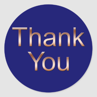 Copper on Dark Blue Thank You Stickers