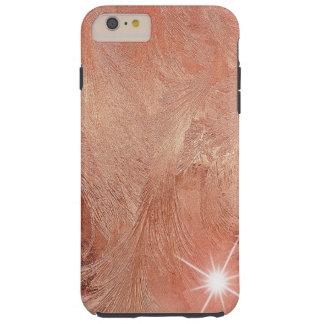 Copper Peach Rose Gold Sand Grain Swirl Metallic Tough iPhone 6 Plus Case