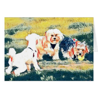 Copper, Penny and Friend Dog Art Notecard