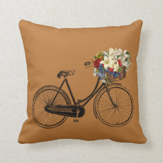 Copper penny bicycle flower Throw pillow