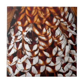 Copper Pheasant Feather Design Tile