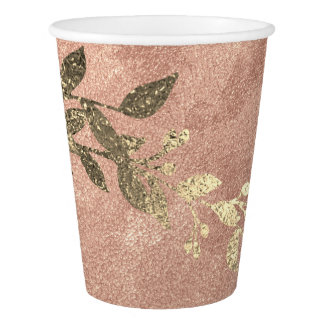 Copper Pink Rose Powder Gold Laurel Wreath Paper Cup