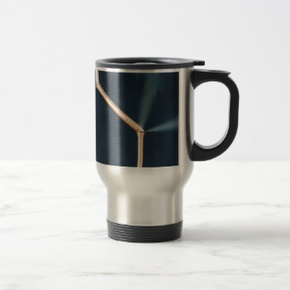 Copper pipes with a leak and steam. travel mug