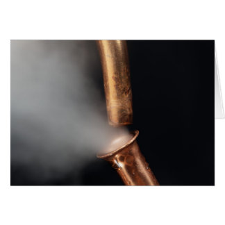 Copper pipes with steam card