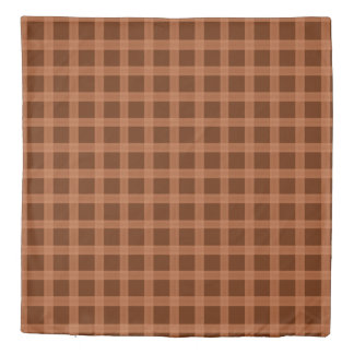 Copper Plaid Pattern Duvet Cover