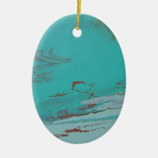 Copper Pond Ceramic Oval Ornament
