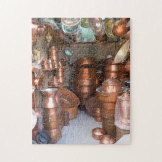 Copper Pots At Market Jigsaw Puzzle