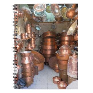Copper Pots At Market Notebook