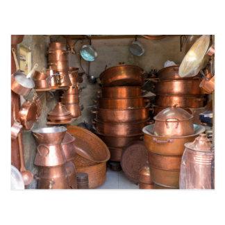 Copper Pots At Market Postcard
