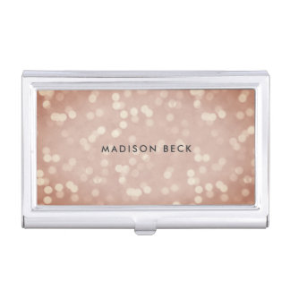 Copper Rose Bokeh Personalized Business Card Holder