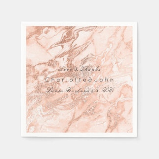 Copper Rose Coral Gold Peach Salmon Marble Party Paper Napkins