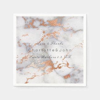 Copper Rose Coral Gold White Gray Marble Party Disposable Napkin