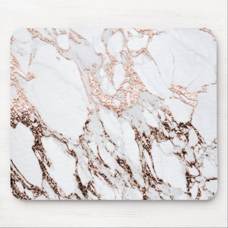 Copper Rose Gold Blush White Molten Stone Marble Mouse Pad