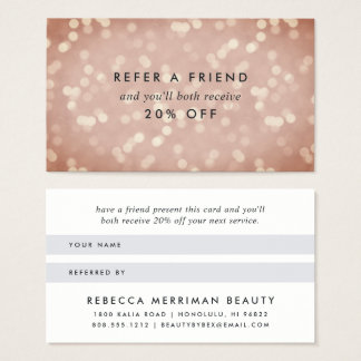 Copper Rose Gold Bokeh Referral Business Card