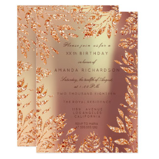Copper Rose Gold Glitter Leafs Floral Frame Card