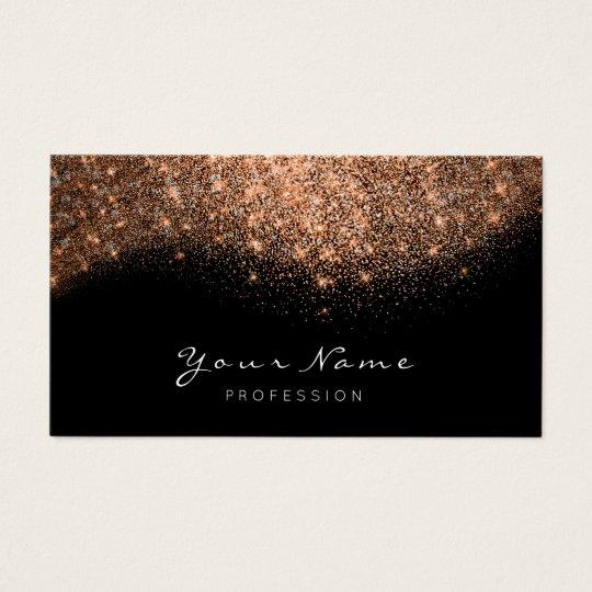 Copper Rose Gold Glitter Makeup Artist Lashes Business Card