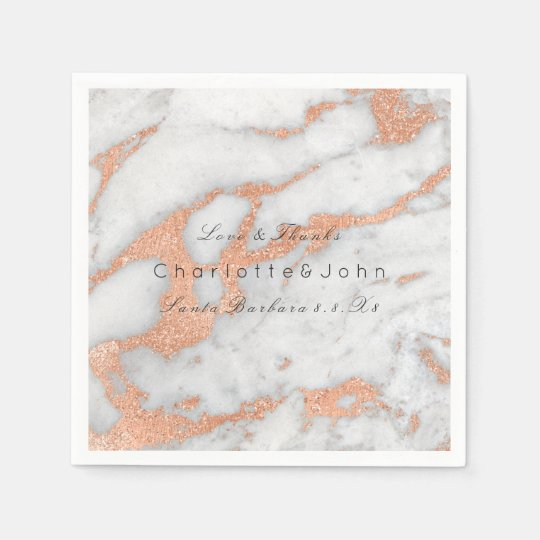 Copper Rose Gold Glitter White Grey  Marble Party Paper Napkin