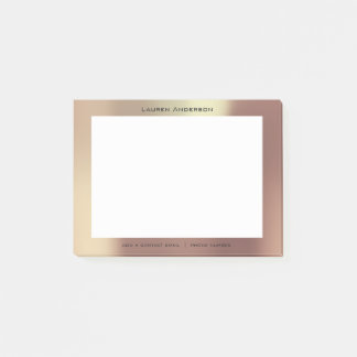 Copper Rose Gold Mail Name Web Telephone Number Post-it Notes