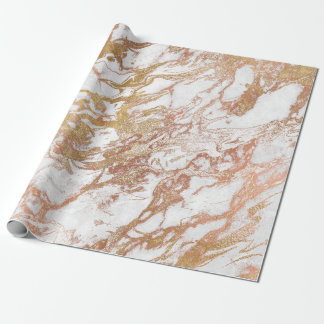 Copper  Rose Gold Marble Molten Pastel White Lux Wrapping Paper