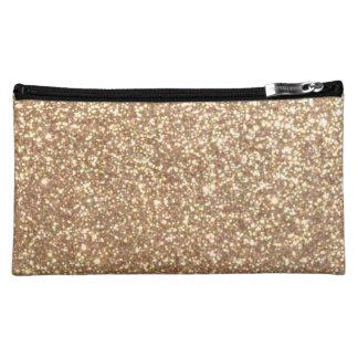 Copper Rose Gold Metallic Glitter Cosmetic Bag