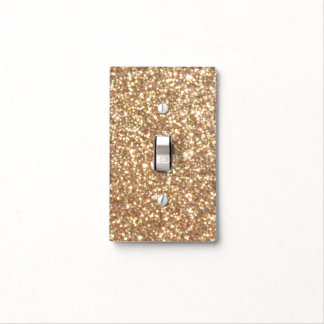Copper Rose Gold Metallic Glitter Light Switch Cover