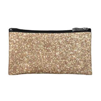 Copper Rose Gold Metallic Glitter Makeup Bag