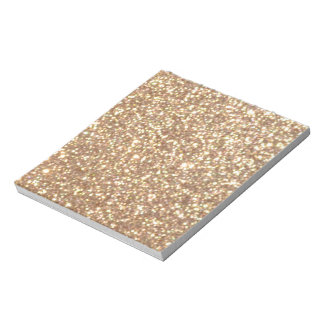 Copper Rose Gold Metallic Glitter Notepad