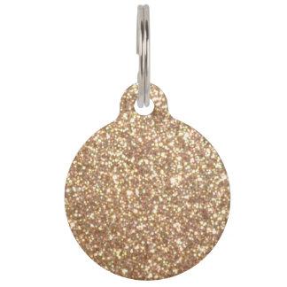 Copper Rose Gold Metallic Glitter Pet Tag