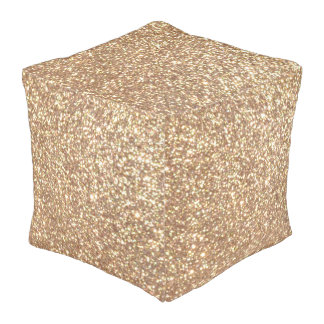 Copper Rose Gold Metallic Glitter Pouf