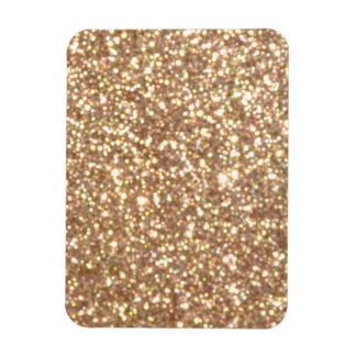 Copper Rose Gold Metallic Glitter Rectangular Photo Magnet
