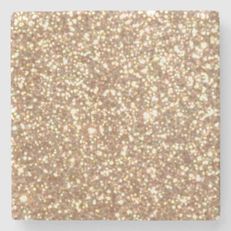 Copper Rose Gold Metallic Glitter Stone Coaster