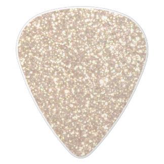 Copper Rose Gold Metallic Glitter White Delrin Guitar Pick