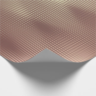 Copper Rose Gold Metallic Grill Stripes Urban Wrapping Paper