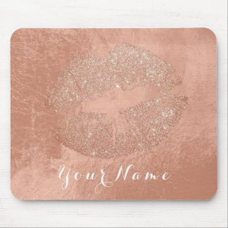 Copper Rose Gold Metallic Name Makeup Lips Kiss Mouse Pad