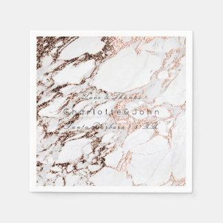 Copper Rose Gold Metallic White Gray Marble Party Paper Napkin