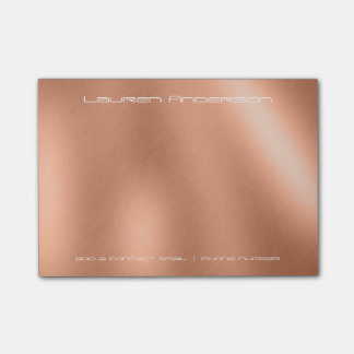 Copper Rose Gold Office Business Personalised Post-it Notes