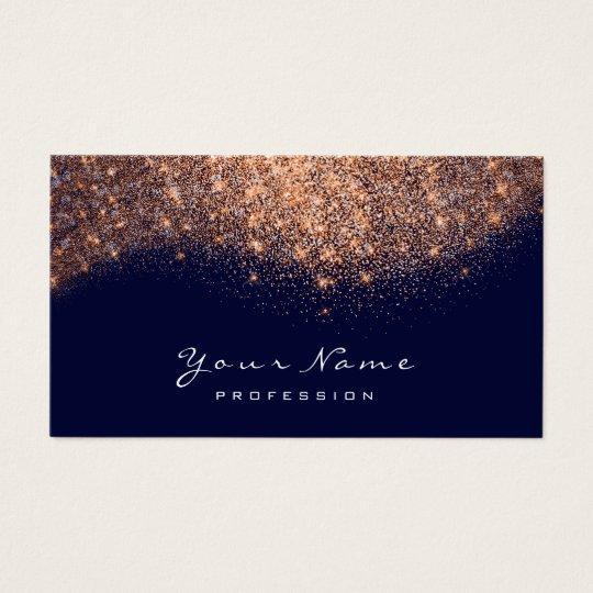 Copper Rose Navy Glitter Makeup Artist Lashes Business Card
