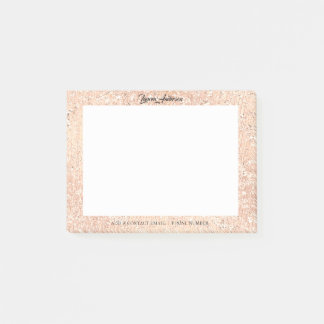 Copper Rose Pink Glitter Name Telephone Web FB Post-it Notes