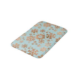Copper Snowflake Monogram Robins Egg Blue Bath Mat