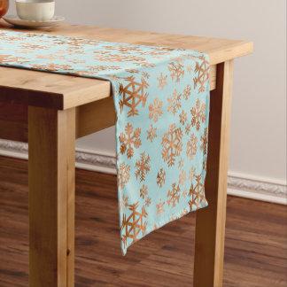 Copper Snowflake Pattern on Robin Egg Blue Holiday Short Table Runner