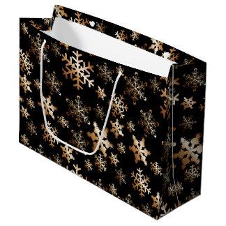 Copper Snowflakes on Black Large Gift Bag