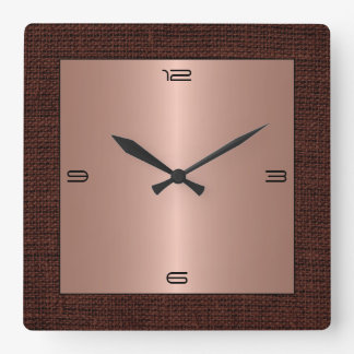 Copper Stainless Steel Modern Burlap Border Square Wall Clock