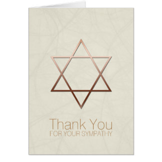 Copper Star of David Jewish Sympathy Thank You Note Card